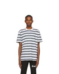 Daniel W. Fletcher White And Navy Double Stripe Logo T Shirt