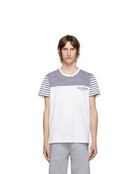 Balmain White And Navy Striped Logo T Shirt