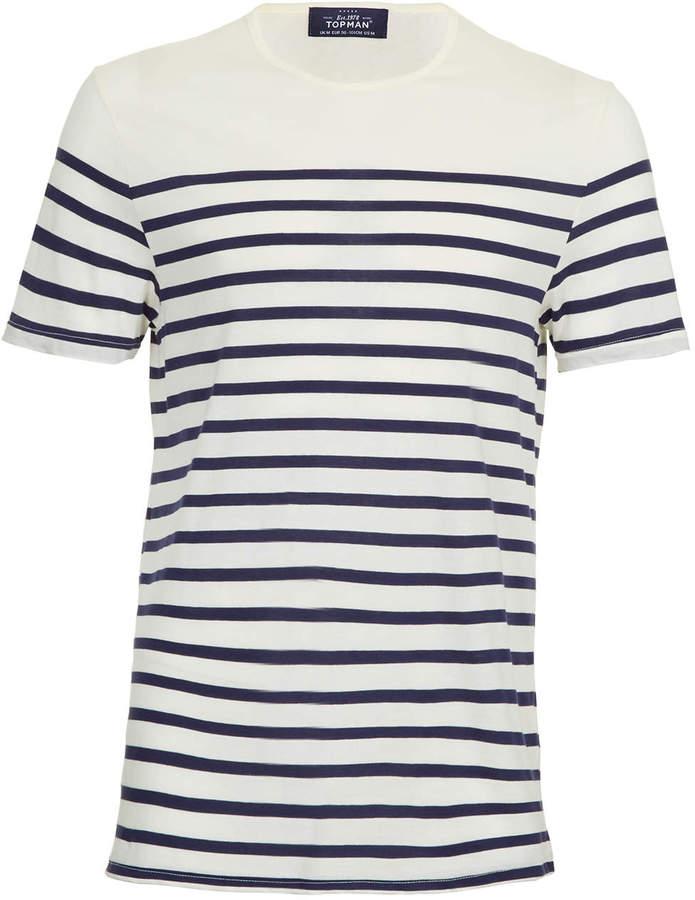 c1218e272c Topman White Breton Stripe T Shirt, $28 | Topman | Lookastic.com