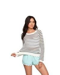 Kendall kylie sweater striped cropped pullover sweater medium 85899
