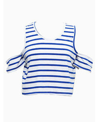 Choies Blue And White Stripe Off Shoulder Crop Top T Shirt