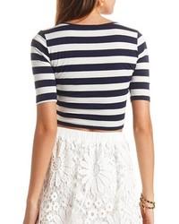 6431b72acbf48d Charlotte Russe Half Sleeve Striped Crop Top, $11 | Charlotte Russe ...