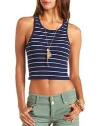 15156762dc65c7 White and Navy Horizontal Striped Cropped Tops for Women | Women's ...