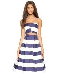 Nicholas navy stripe silk bonded crop top medium 67482