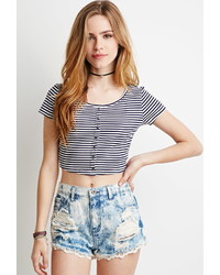 Forever 21 Striped Rib Knit Top