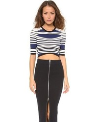 Textured stripe crop top medium 67480
