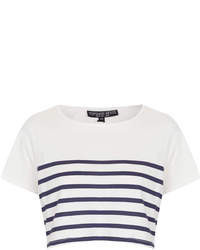 Topshop Petite Blue And White Stripe Jersey Crop Tee 55% Modal 45% Cotton Machine Washable