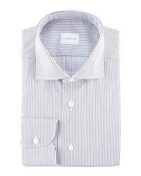 White and Navy Horizontal Striped Dress Shirt