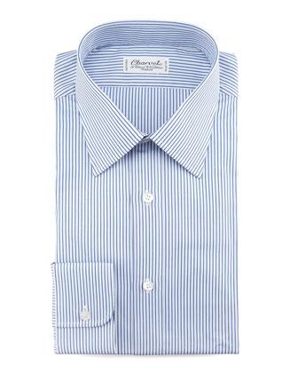 White and navy horizontal striped dress shirt charvet for Horizontal striped dress shirts men