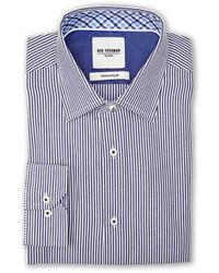 Navy white stripe slim fit dress shirt medium 85741