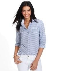 Tommy hilfiger long sleeve striped button down shirt medium 90135