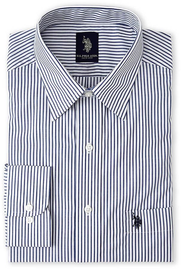 White and navy horizontal striped dress shirt white navy for Horizontal striped dress shirts men
