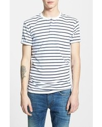 White and Navy Horizontal Striped Henley Shirt