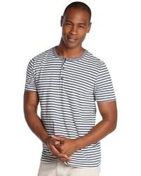 Slate & Stone Navy Stripe Cotton Crewneck Libery Henley T Shirt