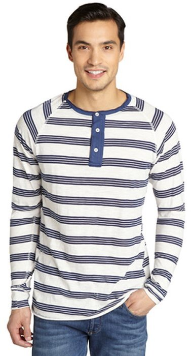 Second sunday navy and cream striped cotton blend long for Kim kardashian henley shirt