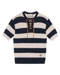 Gucci Striped Lace Up T Shirt