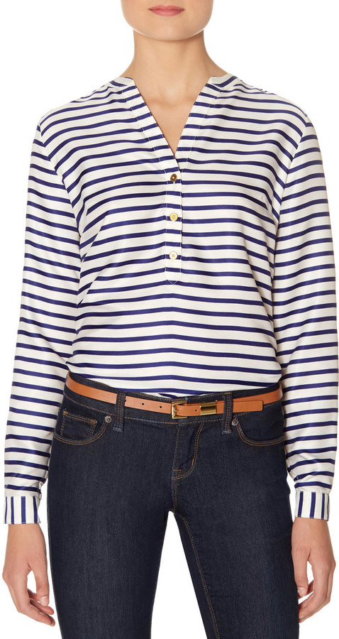 The Limited Striped Henley Blouse Where To Buy How To Wear