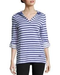 V neck long sleeve striped hoodie medium 1252225