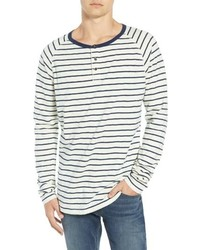 White and Navy Horizontal Striped Long Sleeve Henley Shirt