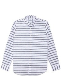 White and Navy Horizontal Striped Long Sleeve Shirt