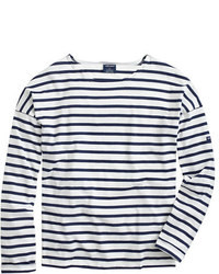 White and Navy Horizontal Striped Long Sleeve T-shirts for Women ...