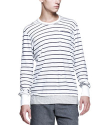 White and Navy Horizontal Striped Long Sleeve T-Shirt