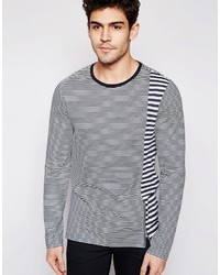 ... Asos Brand Long Sleeve T Shirt With Cut And Sew Stripes And Zip Out of  stock ...