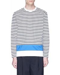 Comme Des Garons Homme Colourblock Panel Stripe Long Sleeve T Shirt