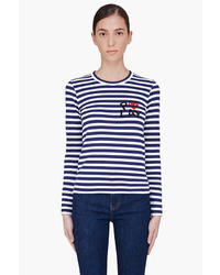 Comme des garons play navy striped emblem t shirt medium 13532