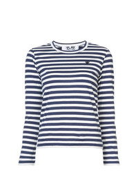 Comme Des Garcons Play Comme Des Garons Play Striped Heart Patch T Shirt