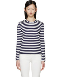 Comme des garons play white navy striped small heart patch t shirt medium 435683