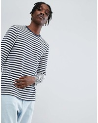 Asos Design Stripe Long Sleeve T Shirt In Navy And White