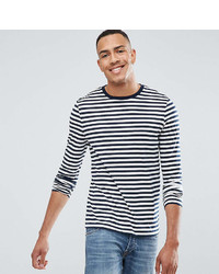 Asos Design Tall Stripe Long Sleeve T Shirt In Navy And White