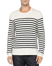 Vince Long Sleeve Colorblock Striped Tee Whitenavy