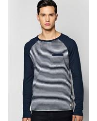 Boohoo Long Sleeve Raglan Stripe T Shirt