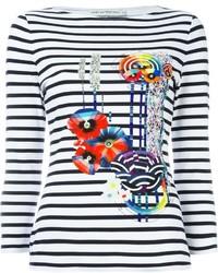 Mary Katrantzou Printed Flower Striped T Shirt