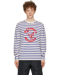 Alexander McQueen Off White Blue 70s Skull Long Sleeve T Shirt