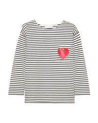 Chinti and Parker Printed Striped Organic Cotton Jersey Top