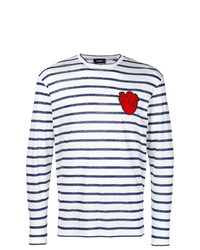 DSQUARED2 Striped Shirt With Heart Patch Appliqu