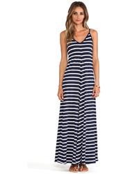 White and Navy Horizontal Striped Maxi Dress