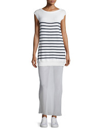 Alexander Wang T By Striped Cottonsilk Long V Back Maxi Dress Off Whitenavy