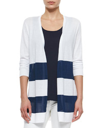White and Navy Horizontal Striped Open Cardigan