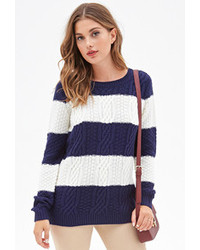 Cable knit striped sweater medium 109832