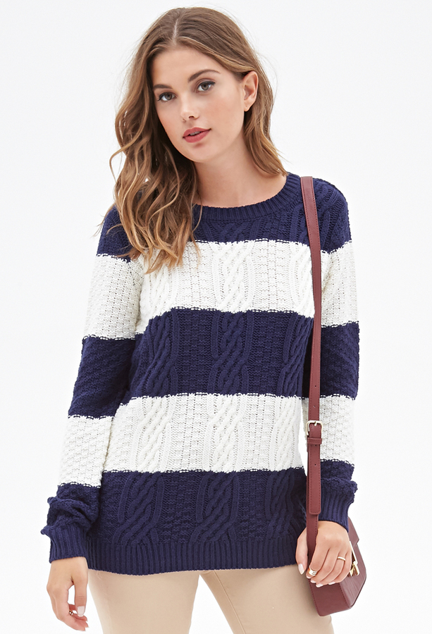 ... Forever 21 Cable Knit Striped Sweater ...