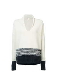Adam Lippes Contrast Long Sleeve Sweater