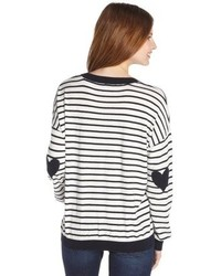 Cliche Navy And White Striped Stretch Cotton Heart Patch Sweater
