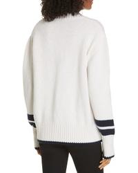 LA LIGNE Stripe Detail Wool Cashmere Sweater
