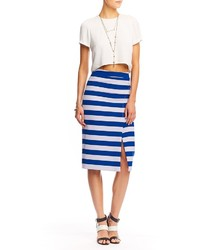 White and Navy Horizontal Striped Pencil Skirt