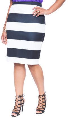 32a7ec72c03 ... ELOQUII Plus Size Neoprene Striped Pencil Skirt ...