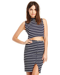 Joa striped knit pencil skirt in navy s m medium 134357